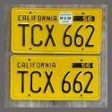 1956 California YOM License Plates For Sale - Original Vintage Pair TCX662