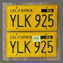 1956 California YOM License Plates For Sale - Original Vintage Pair YLK925