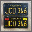 1963 California YOM License Plates For Sale - Original Vintage Pair JCD346
