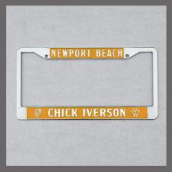 Chick Iverson Porsche VW Volkswagen License Plate Frame Newport Beach California Dealer Yellow