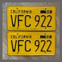 1956 California YOM License Plates For Sale - Original Vintage Pair VFC922