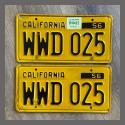 1956 California YOM License Plates For Sale - Original Vintage Pair WWD025