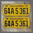 1947 California YOM License Plates For Sale - Original Vintage Pair 64A5361