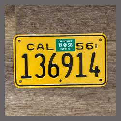 1956 California YOM Motorcycle License Plate For Sale - 136914
