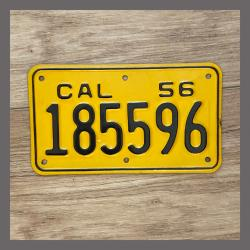 1956 California YOM Motorcycle License Plate For Sale - 185596 NOS