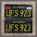 1963 California YOM License Plates For Sale - Original Vintage Pair UFS923