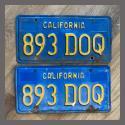 1970 - 1980 California YOM License Plates For Sale - Original Vintage Pair 893DOQ