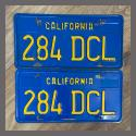 1970 - 1980 California YOM License Plates For Sale - Original Vintage Pair 284DCL