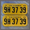 1940 California YOM License Plates For Sale - Restored Vintage Pair 9H3739