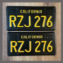 1963 California YOM License Plates For Sale - Restored Vintage Pair RZJ276
