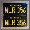 1963 California YOM License Plates For Sale - Restored Vintage Pair WLR356