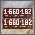 1927 California YOM License Plates For Sale - Original Vintage Pair 1660182