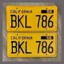 1956 California YOM License Plates For Sale - Restored Vintage Pair BKL786