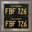 1963 California YOM License Plates For Sale - Restored Vintage Pair FBF726