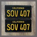 1963 California YOM License Plates For Sale - Restored Vintage Pair SOV407