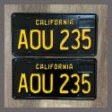 1963 California YOM License Plates For Sale - Restored Vintage Pair AOU235