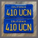 1970 - 1980 California YOM License Plates For Sale - Restored Vintage Pair 410UCN
