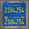1980 California YOM License Plates For Sale - Original Vintage Pair 2S84254