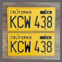 1956 California YOM License Plates For Sale - Repainted Vintage Pair KCW438