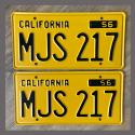 1956 California YOM License Plates For Sale - Repainted Vintage Pair MJS217