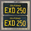 1963 California YOM License Plates For Sale - Restored Vintage Pair EXD250