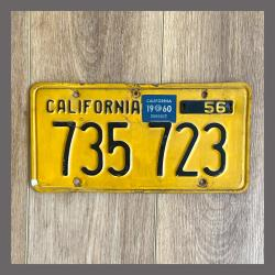 1956 California YOM Trailer License Plate For Sale - Original Vintage 735723