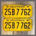 1947 California YOM License Plates Pair Original 25B7762