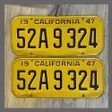 1947 California YOM License Plates Pair Original 52A9324