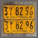 1932 California YOM License Plates For Sale - Original Pair 3Y8296