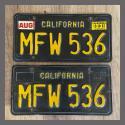 1963 California YOM License Plates For Sale - Original Vintage Pair MFW536