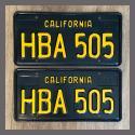 1963 California YOM License Plates For Sale - Restored Vintage Pair HBA505