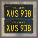 1963 California YOM License Plates For Sale - Restored Vintage Pair XVS938