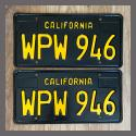 1963 California YOM License Plates For Sale - Restored Vintage Pair WPW946