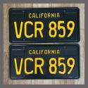 1963 California YOM License Plates For Sale - Restored Vintage Pair VCR859