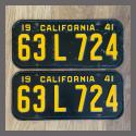 1941 California YOM License Plates Pair Original 63L724