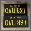 1963 California YOM License Plates For Sale - Vintage Pair QVU897