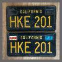 1963 California YOM License Plates For Sale - Original Vintage Pair HKE201