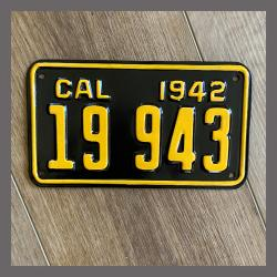 1942 California Motorcycle License Plate For Sale - 19943