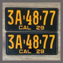 1929 California YOM License Plates For Sale - Repainted Vintage Pair 3A4877