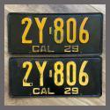 1929 California YOM License Plates For Sale - Original Vintage Pair 2Y806