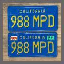 1970 - 1980 California YOM License Plates For Sale - Original Vintage Pair 988MPD