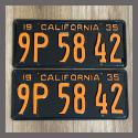 1935 California YOM License Plates For Sale - Restored Vintage Pair 9P5842