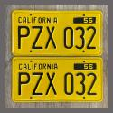 1956 California YOM License Plates For Sale - Restored Vintage Pair PZX032
