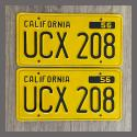 1956 California YOM License Plates For Sale - Restored Vintage Pair UCX208