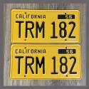 1956 California YOM License Plates For Sale - Repainted Vintage Pair TRM182