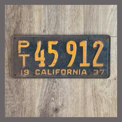 1937 California Trailer License Plate For Sale - Original Vintage 45912