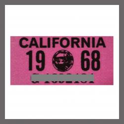 1968 California YOM DMV Motorcycle Sticker For Sale