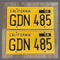 1956 California YOM License Plates For Sale - Restored Vintage Pair GDN485