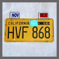 Yellow CA YOM License Plates Month & Year Tag / Sticker Holders Pair