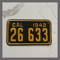 1942 California YOM Motorcycle License Plate For Sale - 26633